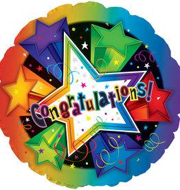"Congratulations! Stars Foil Balloon 18"""