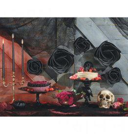 Black Paper 3D Rose Decorations 5ct