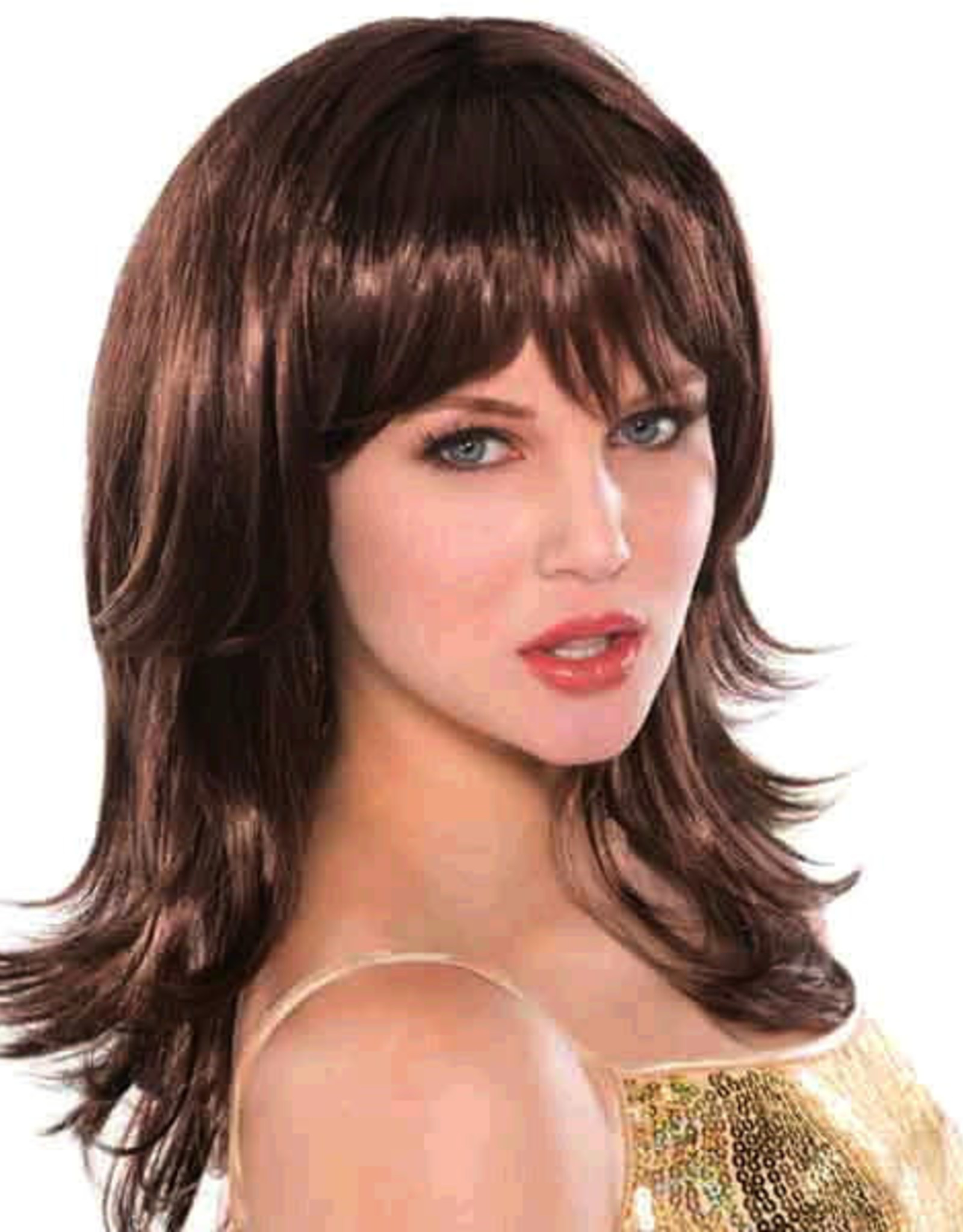 Brown Feather Shag 70s Wig Adult