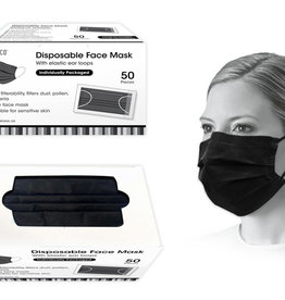 Global Disposable Face Mask-Black 50pk