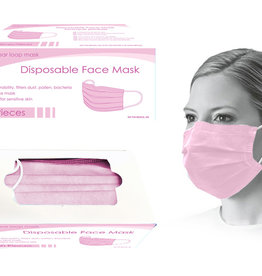 Global Disposable Face Mask-Pink 50pk