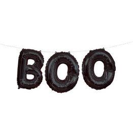 """Black Boo Foil Letter Balloon Banner Kit 14"""""""