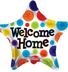 Welcome Home Star Polka Dot Foil Balloon 18""