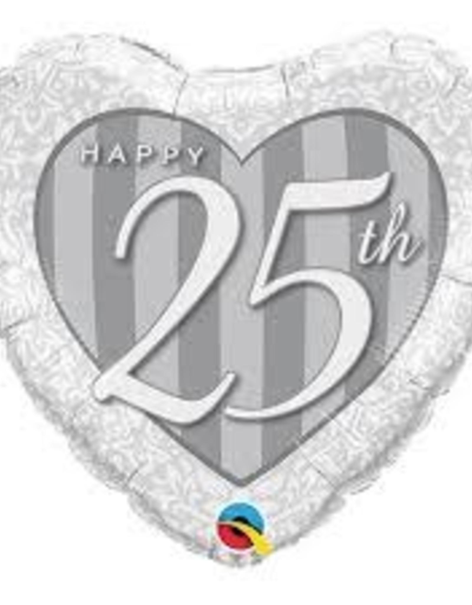 """25th Anniversary Heart Shape Foil Balloon 18"""""""