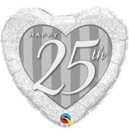 25th Anniversary Heart Shape Foil Balloon 18""