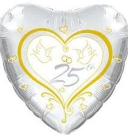 Anniversary 25 Gold Doves Heart Shape Foil Balloon 18""