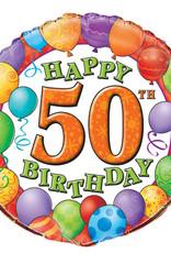 "50th Birthday Foil Balloon 18"""
