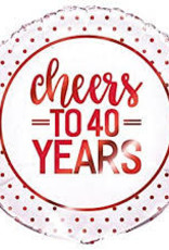 """Cheers To 40 Years Foil Balloon 18"""""""