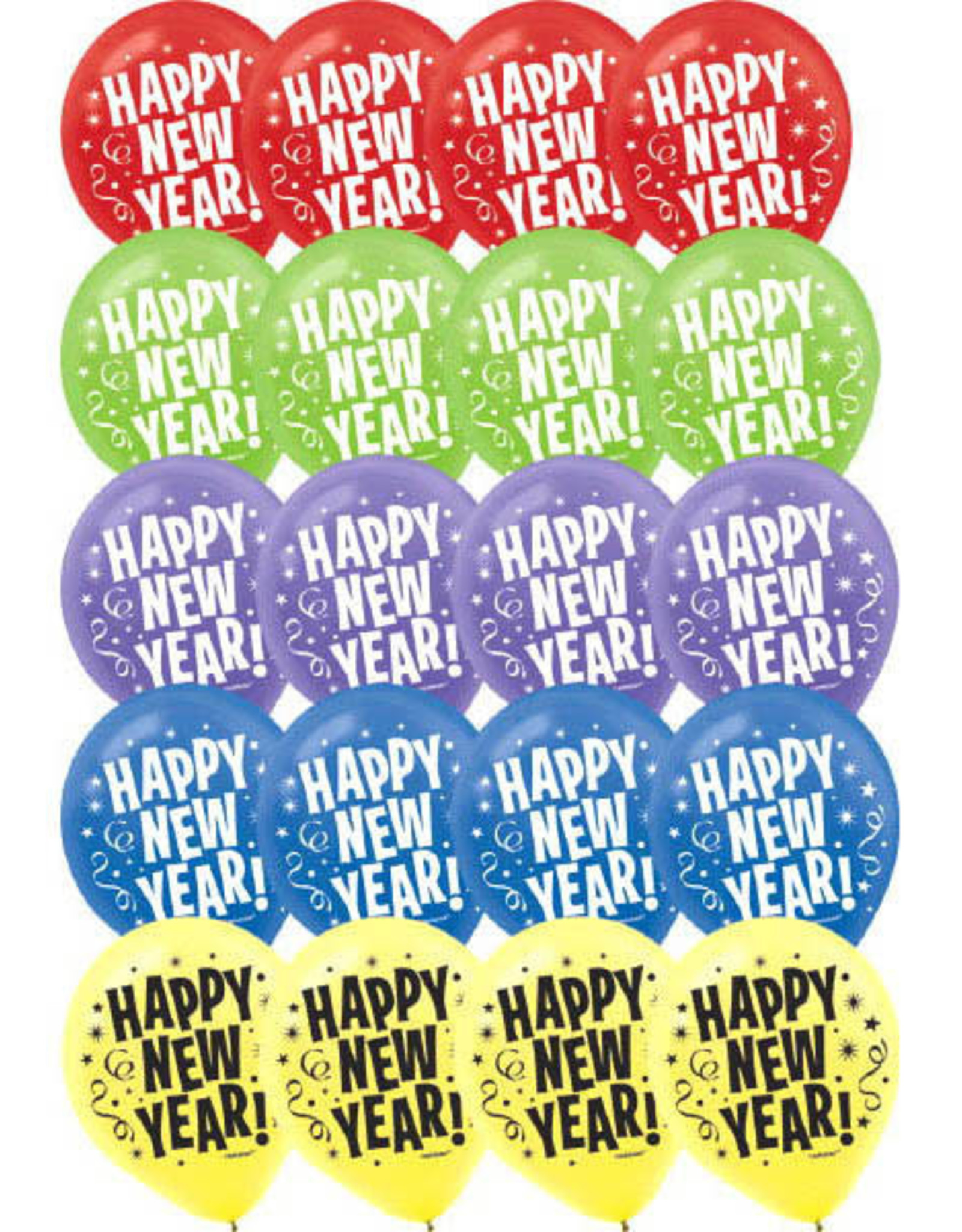 Colourful Happy New Years Latex Balloons 15pk