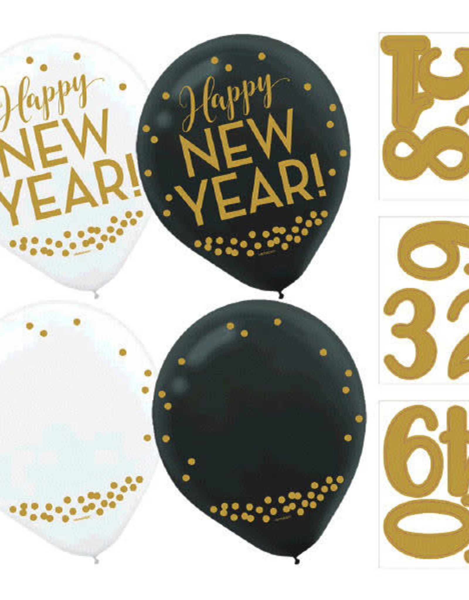 """Count Down New Year 12"""" Latex Balloons 12ct"""