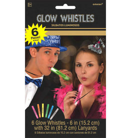 New Year's Glow Whistle Necklaces 6ct