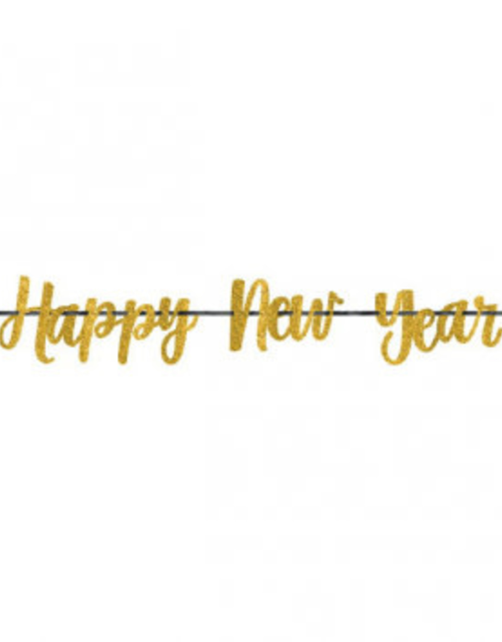 Gold Happy New Year Scroll Banner 12FT