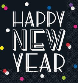 Neon Dot 'Happy New Years' Luncheon Napkins 16ct
