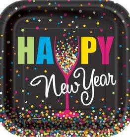 Confetti New Year Square Dessert Plates 10ct