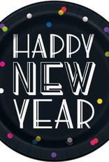 Neon Dot New Year Round Dinner Plates 8ct