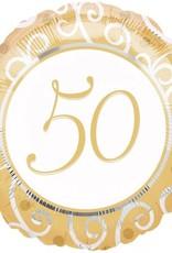 """50th Gold Mylar Foil Balloon 18"""""""
