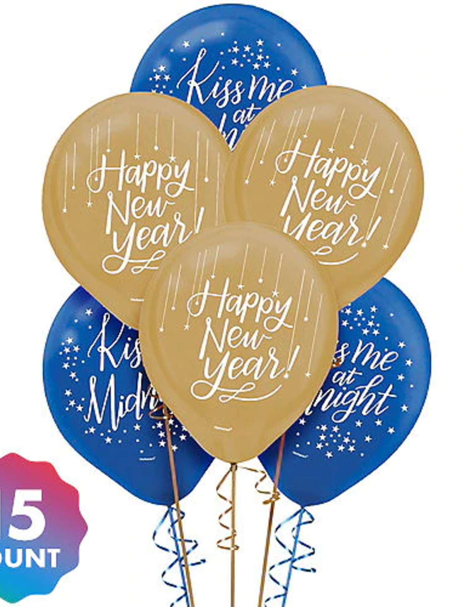 Blue and Gold New Years Balloons 15ct