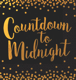 'Countdown to Midnight' Black & Gold Luncheon Napkins 16ct