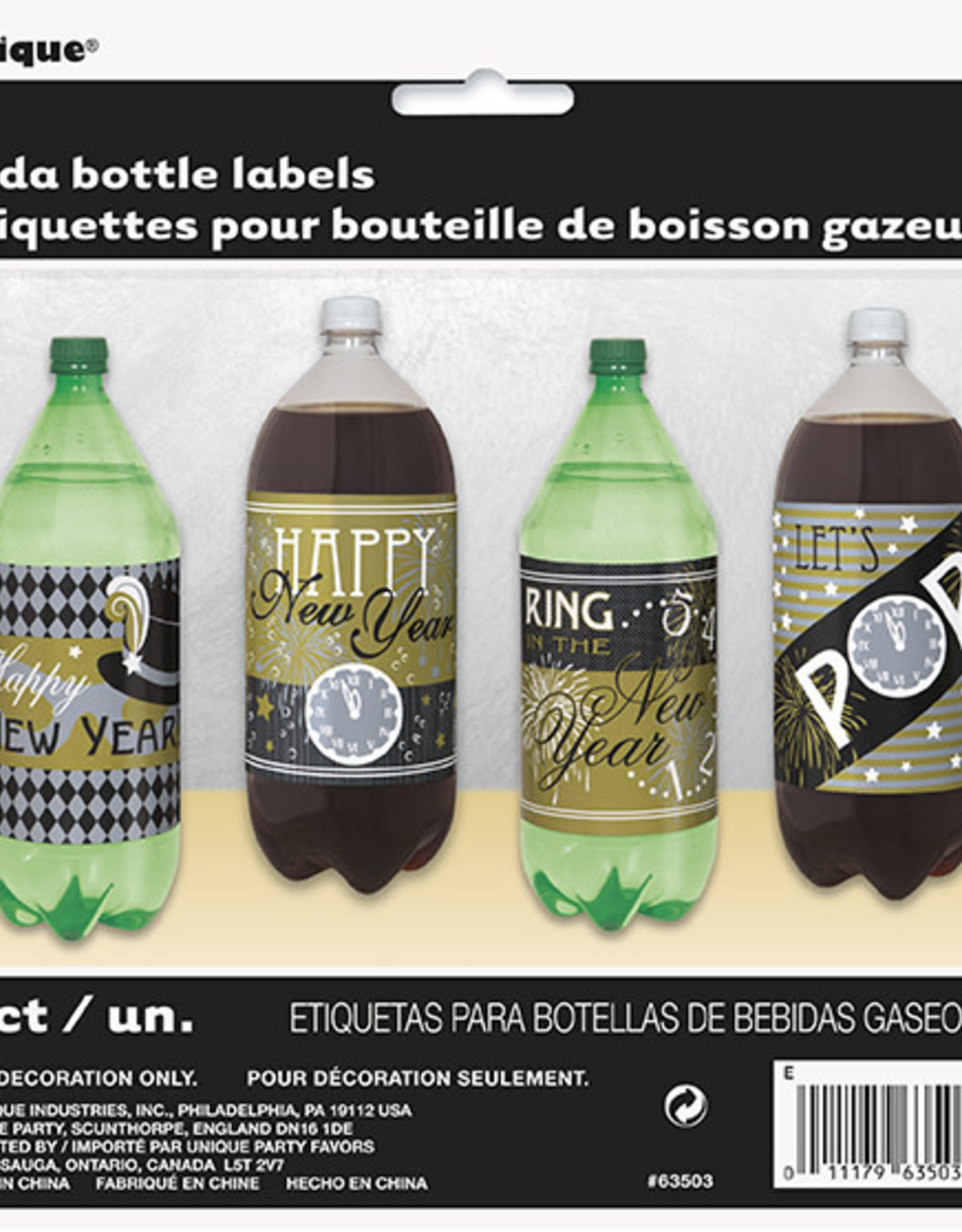 2L Pop bottle New Years Labels 4ct