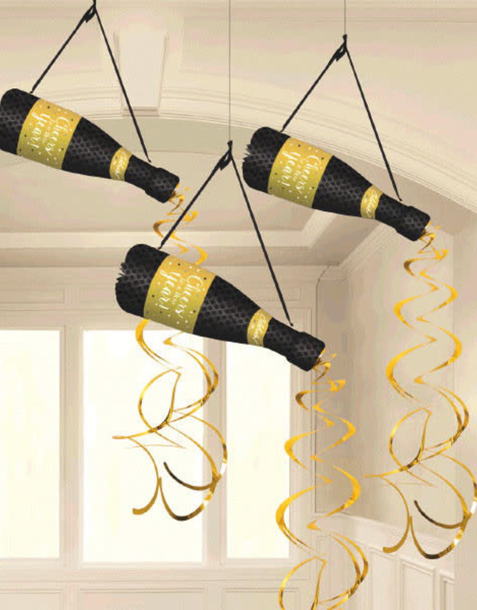 Hanging Honeycomb Champagne Bottles 3ct