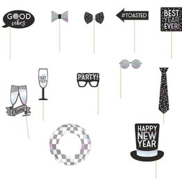 Large New Years Photo Props Silver and Black 12ct