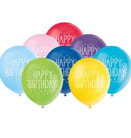 "'Happy Birthday' 12"" Printed Latex 8 pk"