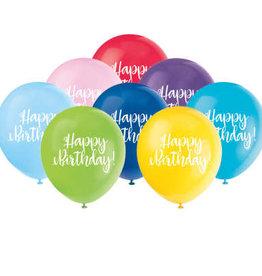 "'Happy Birthday' Script 12"" Latex 8 pk"