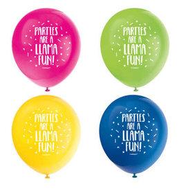 "Llama Birthday 12"" Latex Balloons 8ct"