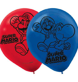 "Super Mario 12"" Latex Balloons, 6pk"