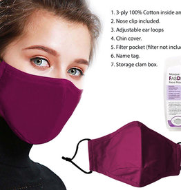 Bodico Washable Adult Mask, 3 Layer - Wine Red