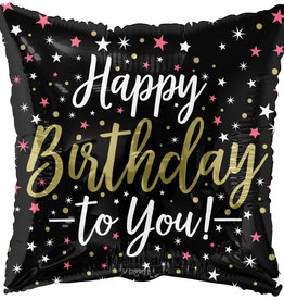 """Happy Birthday To You!"" Stars Square Shape 18"" Foil Balloon"