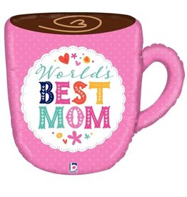 """Best Mom"" Giant Mug 28"" Foil Balloon"