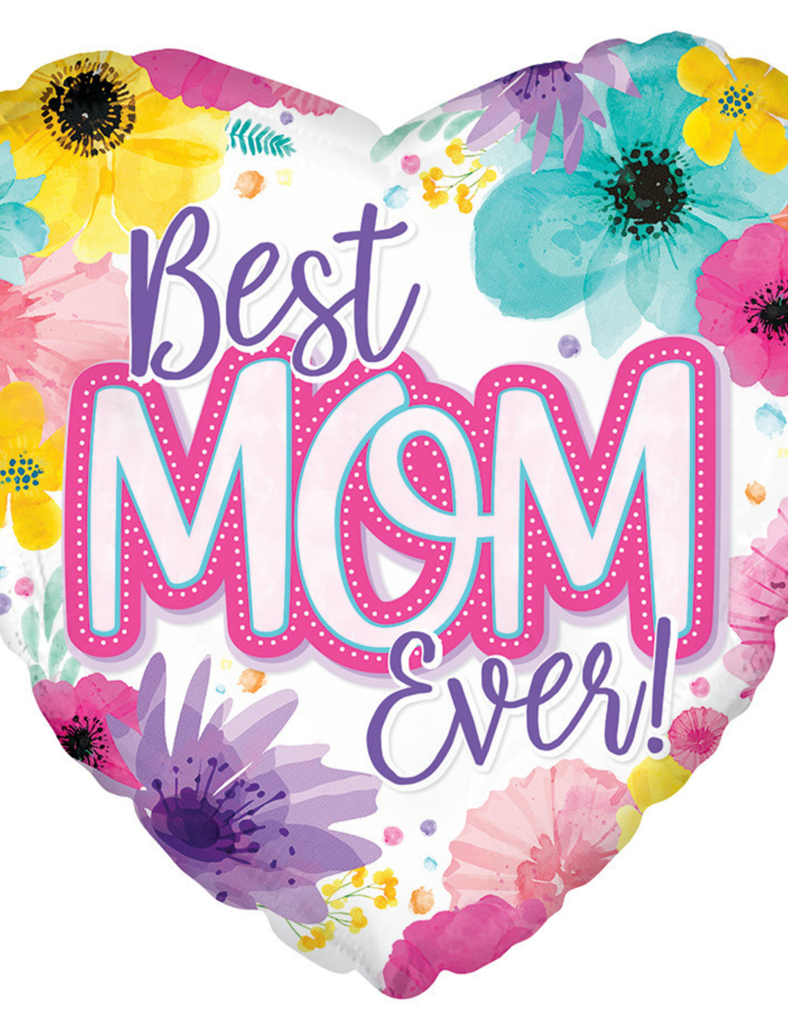"""Best Mom Ever"" Heart Shaped 18"" Mylar"