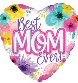 """Best Mom Ever"" Heart Shaped 18"" Mylar"