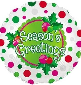 """Season's Greetings"" Polka Dot 18"" Mylar"
