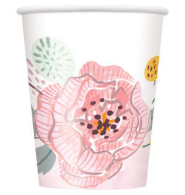 Painted Floral 9oz Paper Cups 8ct