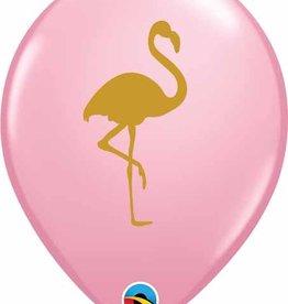 "Pink Printed Gold Flamingo 12"" Latex Singles"