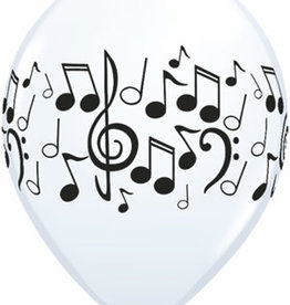 """White and Black Music Notes Printed 12"""" Latex Singles"""