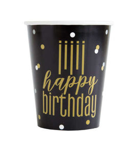 Metallic Gold and Black Happy Birthday Cups 8ct