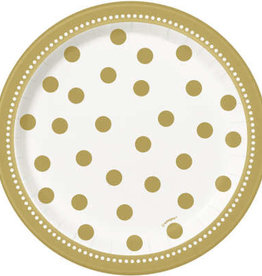 "Gold Polka Dot 7""bDessert Plate 8ct"