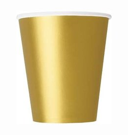 Gold Paper Cups 8ct,  9oz
