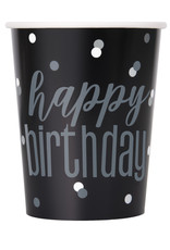"""Black and Silver """"Happy Birthday"""" Cups 8ct"""