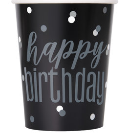 "Black and Silver ""Happy Birthday"" Cups 8ct"