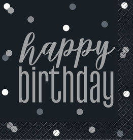 Black and Silver 'Happy Birthday' Beverage Napkins 16ct