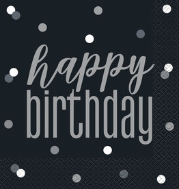 Black and Silver Happy Birthday Luncheon Napkins 16ct