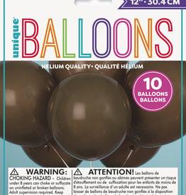 "12"" Latex Balloons 10ct - Brown"