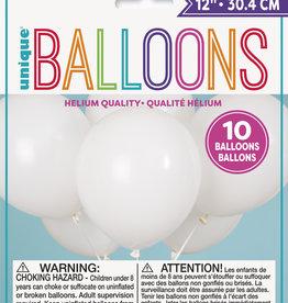 "12"" Latex Balloon 10ct - White"