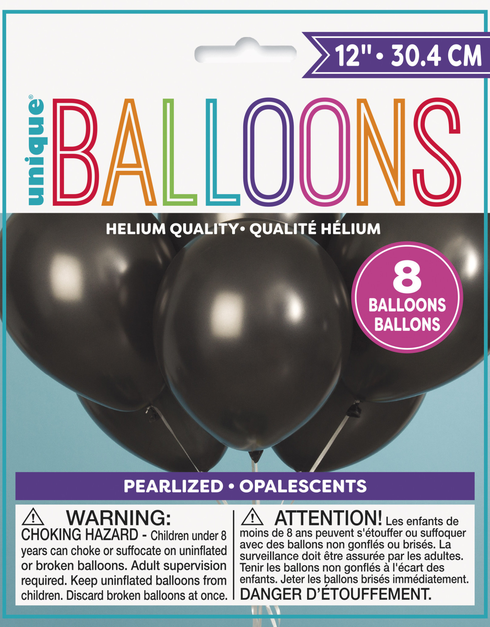 "12"" Latex Pearlized Balloons 8ct - Shadow Black"