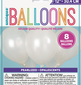 "12"" Latex Pearlized Balloons 8ct - White"