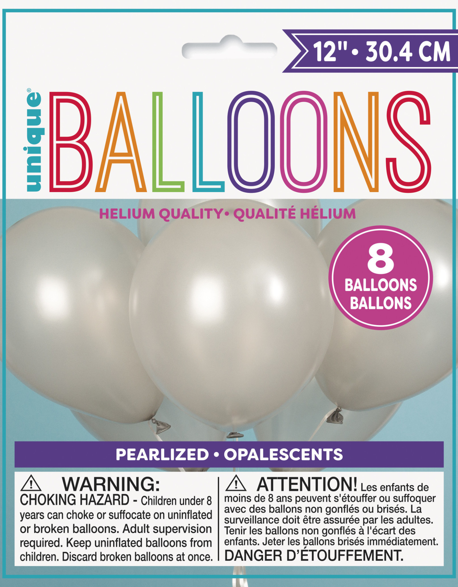 "12"" Latex Pearlized Balloons 8ct - Silver"